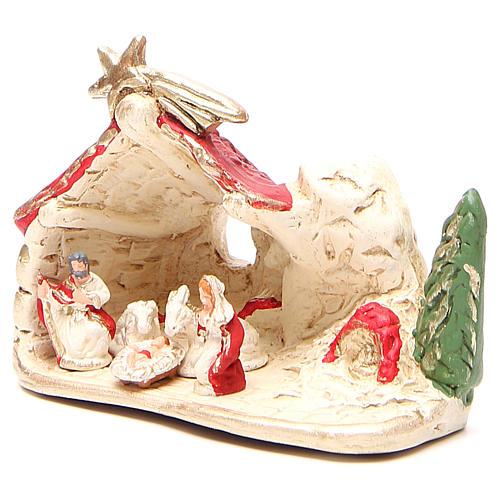 Nativité et cabane terre cuite décor rouge 10x12x6 cm 2