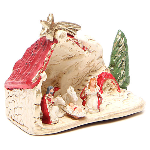 Nativité et cabane terre cuite décor rouge 10x12x6 cm 3