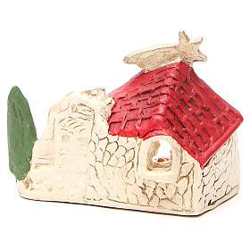 Natività e capanna terracotta decoro rosso h. 10x12x6 cm s4