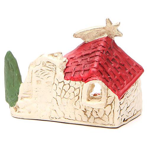Natività e capanna terracotta decoro rosso h. 10x12x6 cm 4