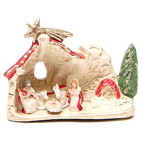 Nativity and hut terracotta red decoration 10x12x6cm s1