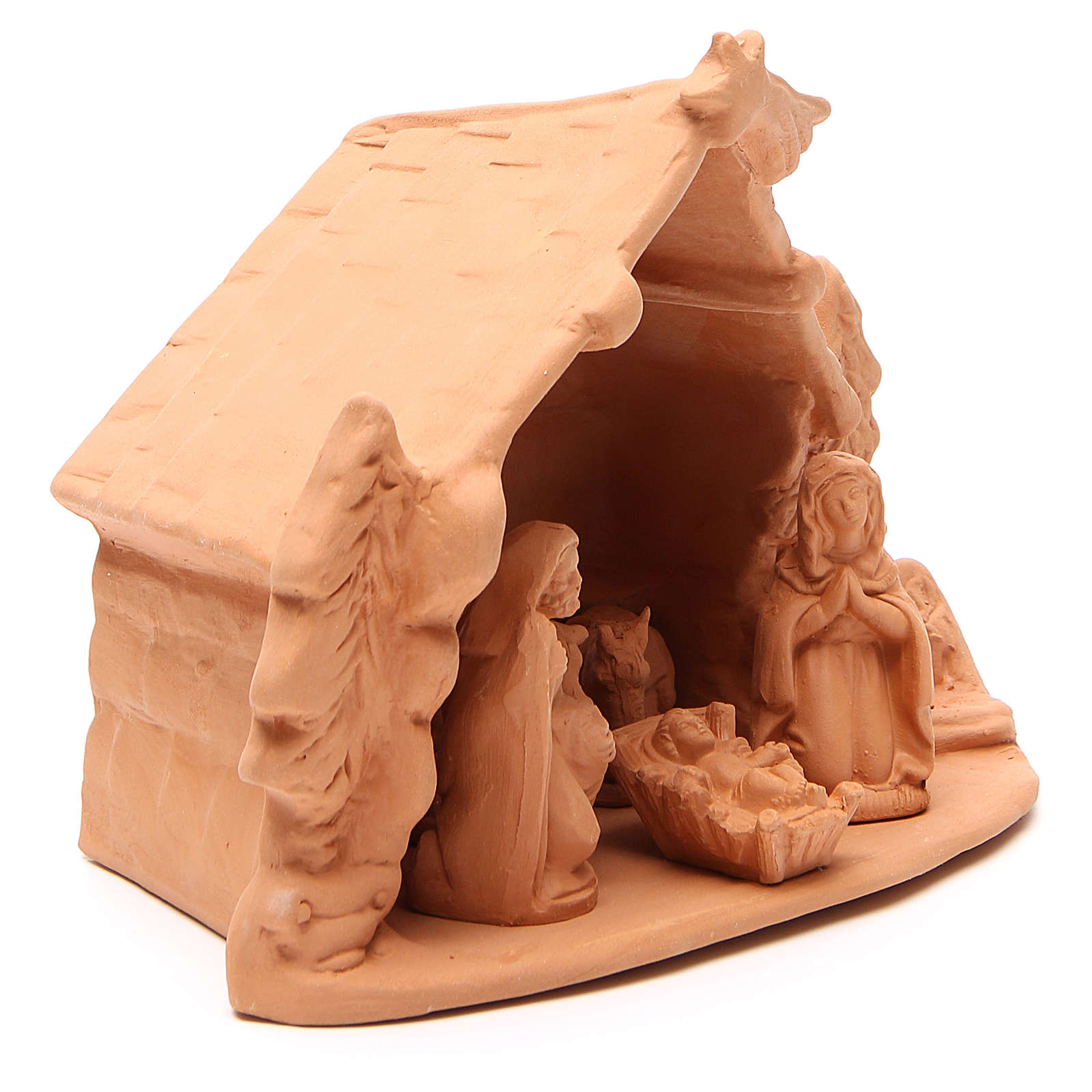 Capanna e Natività terracotta naturale h 20x24x14 cm 4