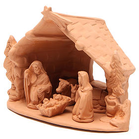 Shed and Nativity natural terracotta 20x24x14cm s2