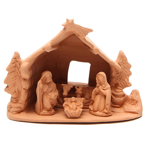 Shed and Nativity natural terracotta 20x24x14cm 1
