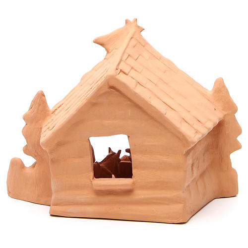 Shed and Nativity natural terracotta 20x24x14cm 4
