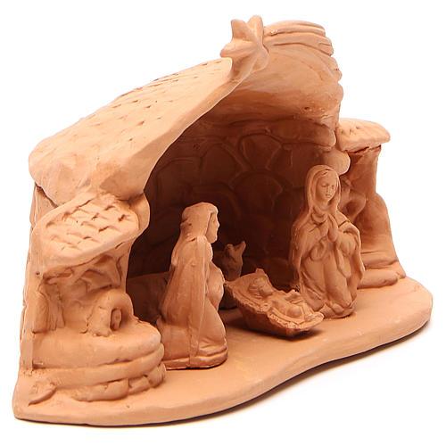 Natività terracotta ambientata h.15x20x11 cm 3