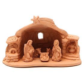 Presépio Terracota Deruta: Natividade terracota cenário 15x20x11 cm