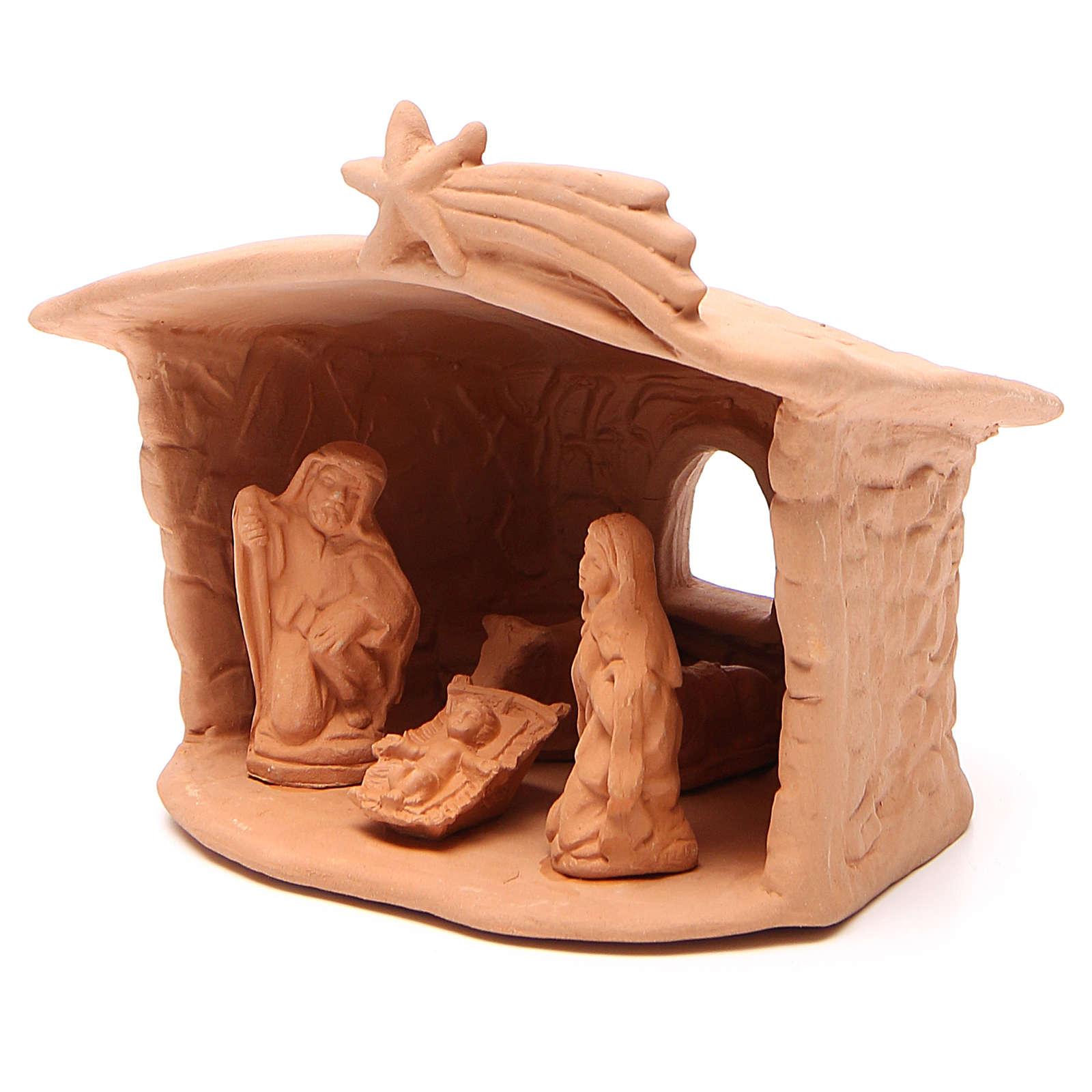 Capanna con Natività in terracotta h. 15x13x11 cm 4