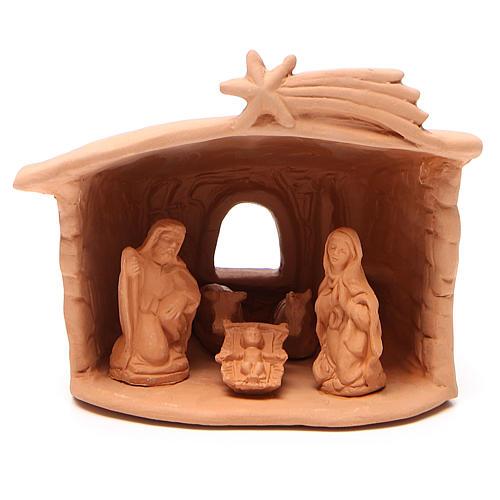 Capanna con Natività in terracotta h. 15x13x11 cm 1