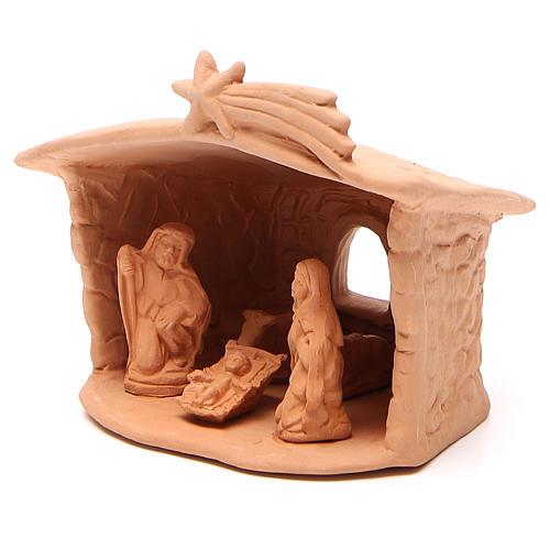 Capanna con Natività in terracotta h. 15x13x11 cm 2