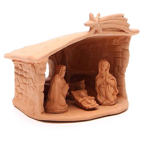 Capanna con Natività in terracotta h. 15x13x11 cm 3