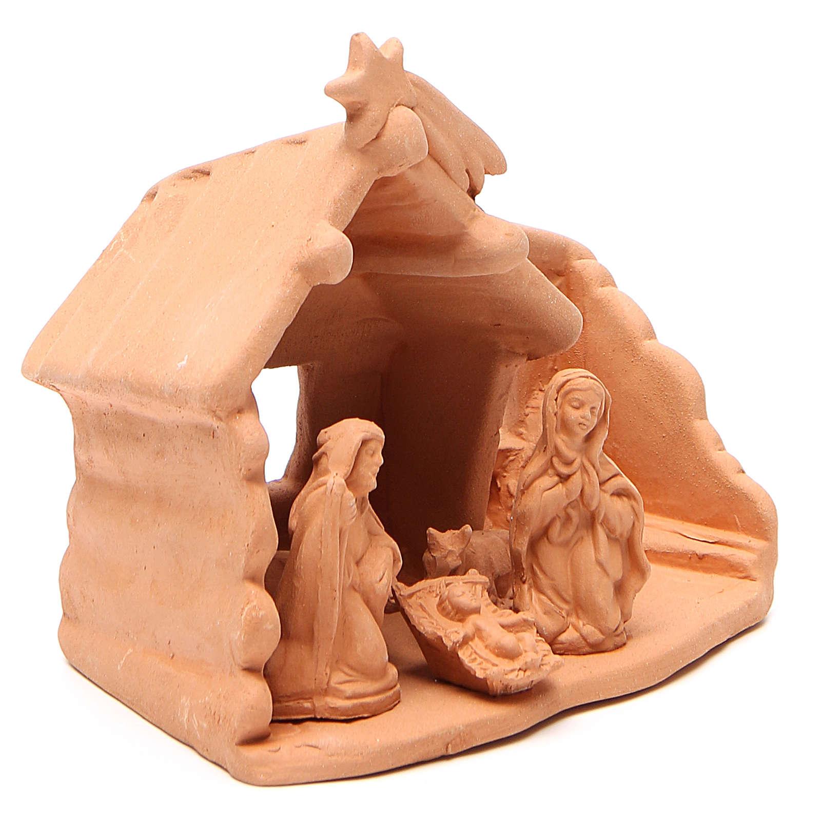 Natività con Capanna in terracotta naturale h. 15x16x9 cm 4