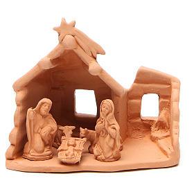 Presépio Terracota Deruta: Natividade com cabana em terracota natural h 15x16x9 cm