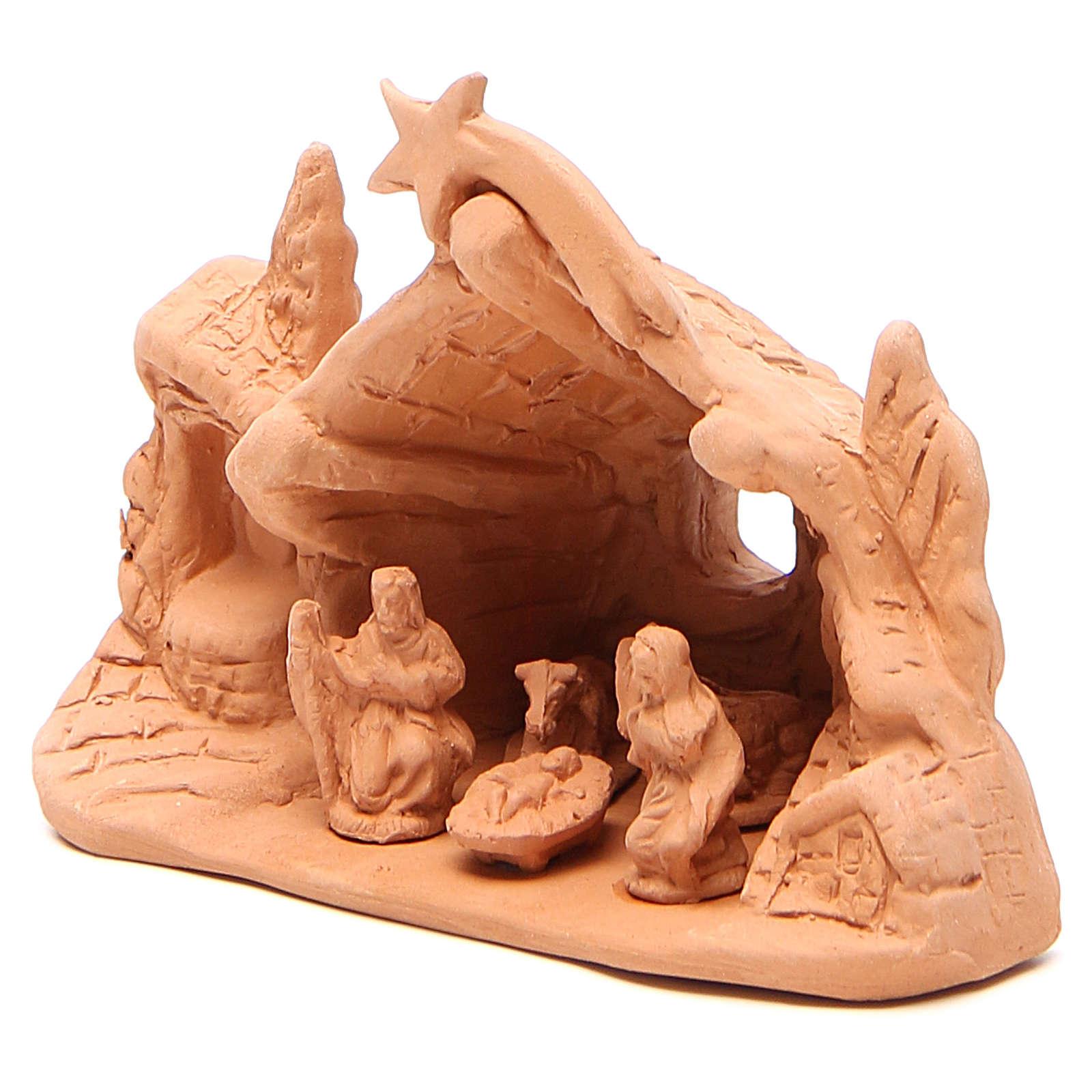 Nativité avec grotte en terre cuite 10x14x6 cm 4