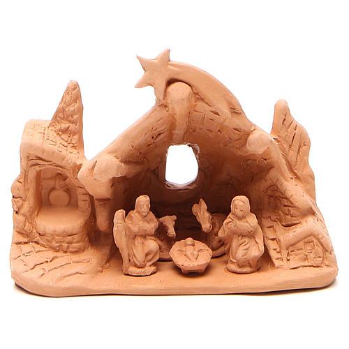 Nativité avec grotte en terre cuite 10x14x6 cm 1