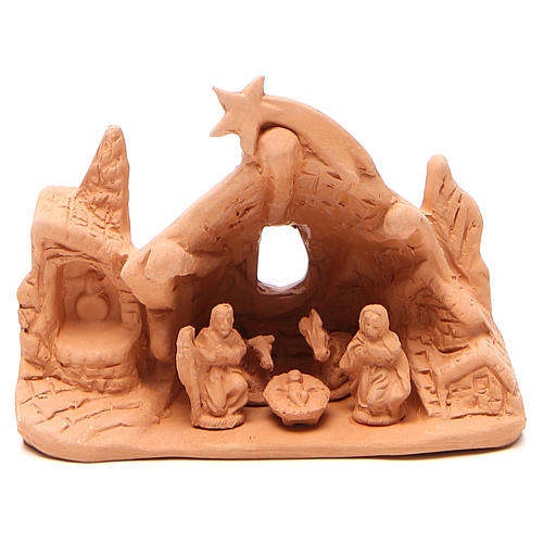 Natività con Grotta in terracotta h. 10x14x6 cm 1