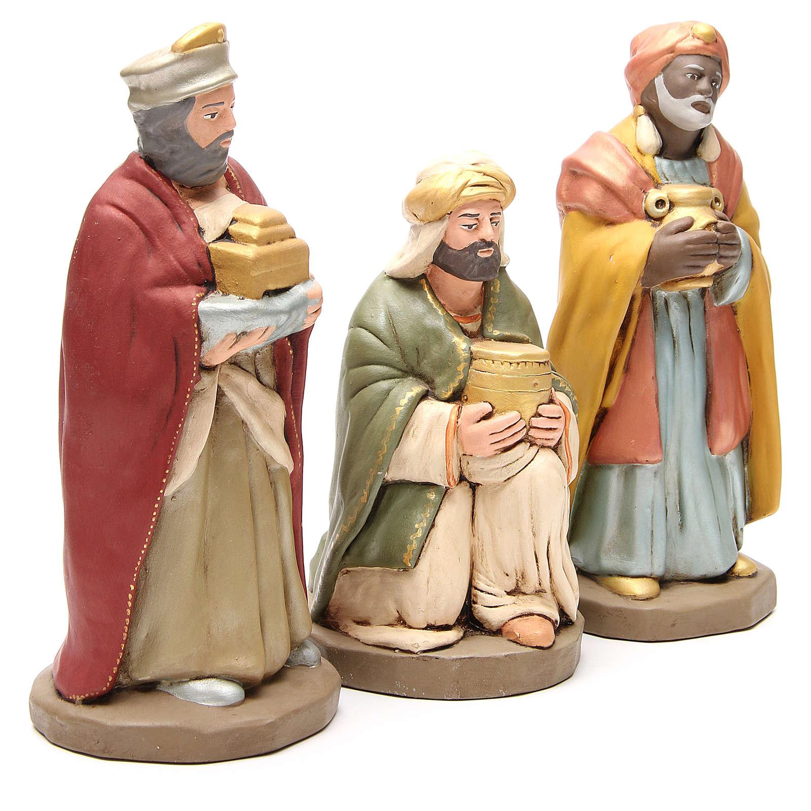 Rois Mages terre cuite décorée crèche de 30 cm 4