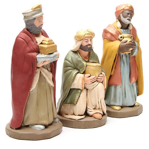 Rois Mages terre cuite décorée crèche de 30 cm 3