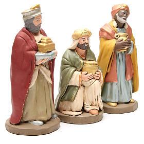 Reis Magos terracota decorada para Presépio com figuras de altura média 30 cm s3