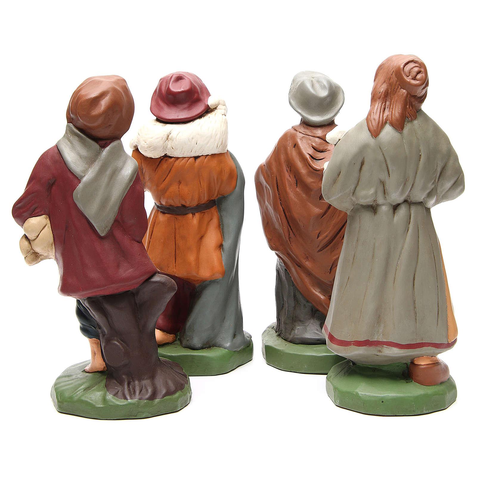 Pastores terracota pintada belén 30 cm, 4 figuras 4