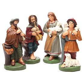 Pastores terracota pintada belén 30 cm, 4 figuras s1