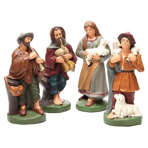Pastores terracota pintada belén 30 cm, 4 figuras 1
