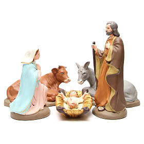 Nativity terracotta with decoration 40cm - 5 pcs s1