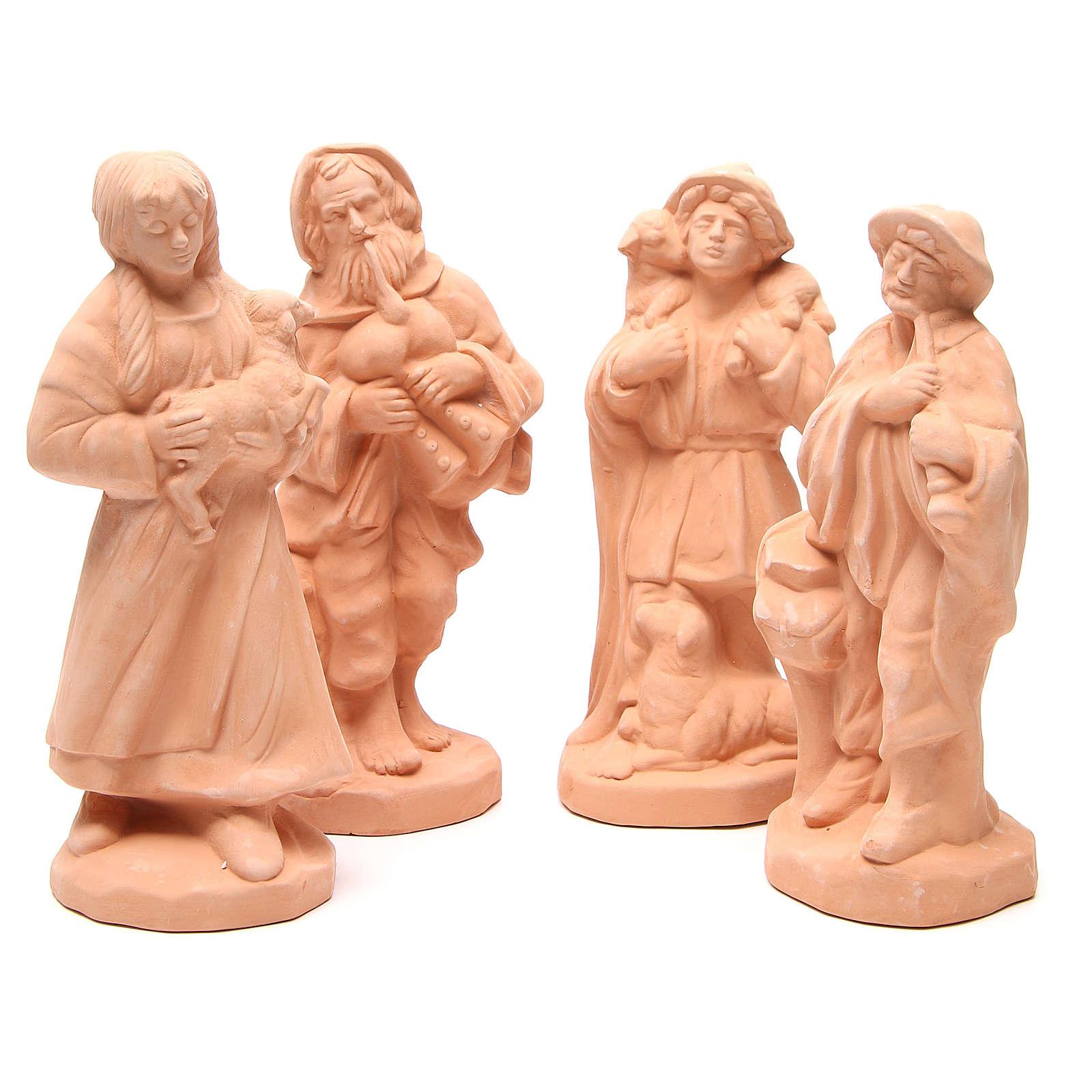 Shepherds terracotta nativity 30cm - set 4 pcs 4