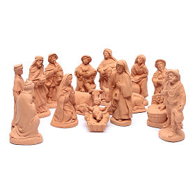 Nativity set in natural clay 15 figurines 20cm s1