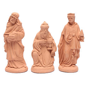 Nativity set in natural clay 15 figurines 20cm s3