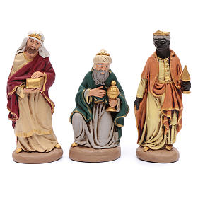 Nativity set in painted clay 15 figurines 20cm s3