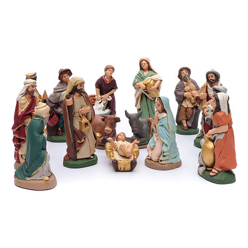 Nativity set in painted clay 15 figurines 20cm 1