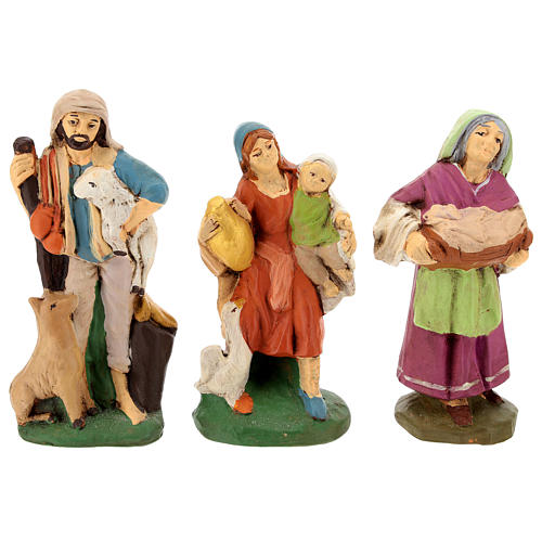Nativity set in painted clay 15 figurines 15cm 5