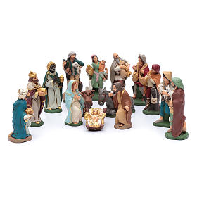 Nativity set in painted clay 15 figurines 15cm s1