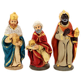 Nativity set in painted clay 15 figurines 15cm s3