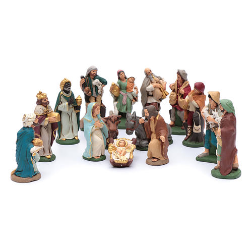 Nativity set in painted clay 15 figurines 15cm 1