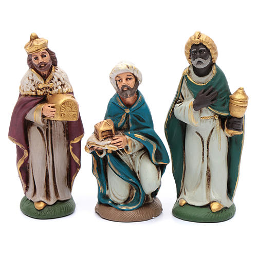 Nativity set in painted clay 15 figurines 15cm 3