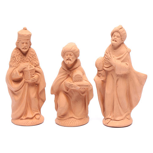 Nativity set in natural clay 15 figurines 15cm 3