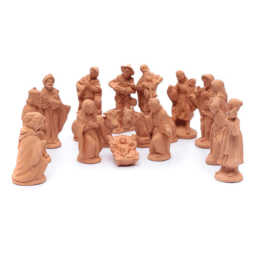 Nativity set in natural clay 15 figurines 15cm 1