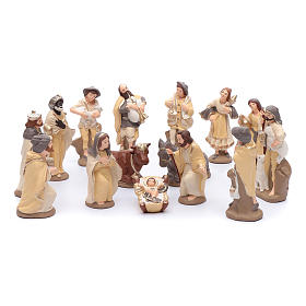Nativity set in painted clay 15 figurines 15cm, elegant style s1