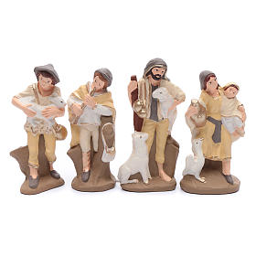 Nativity set in painted clay 15 figurines 15cm, elegant style s5