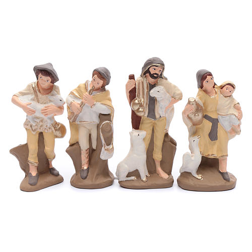Nativity set in painted clay 15 figurines 15cm, elegant style 5