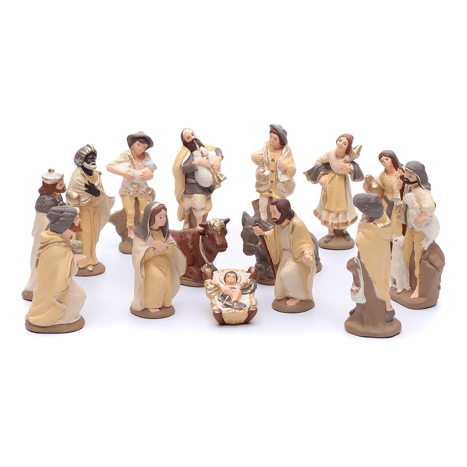 Crèche terre cuite décorée mod. élégant 15 santons 15 cm 4