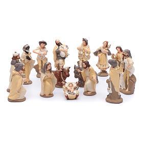 Crèche terre cuite décorée mod. élégant 15 santons 15 cm s1