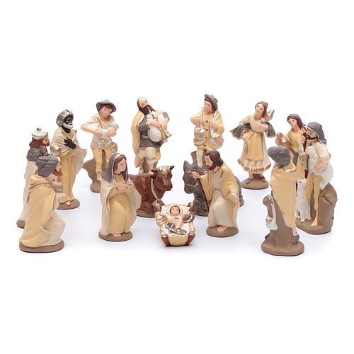 Crèche terre cuite décorée mod. élégant 15 santons 15 cm 1