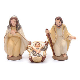 Nativity set in painted clay 15 figurines 15cm, elegant style s2