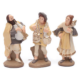 Nativity set in painted clay 15 figurines 15cm, elegant style s4
