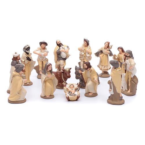 Nativity set in painted clay 15 figurines 15cm, elegant style 1