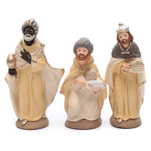 Nativity set in painted clay 15 figurines 15cm, elegant style 3