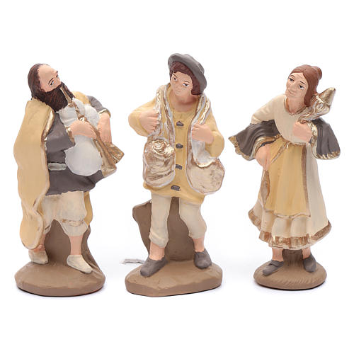 Nativity set in painted clay 15 figurines 15cm, elegant style 4